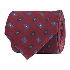 Scarlet Red Silk Twill Geometric Print Tie