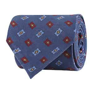 Whale Blue Silk Twill Geometric Print Tie