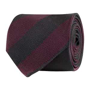 Bordeaux and Black Silk Twill Regimental Tie