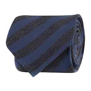 Navy and Black Silk Twill Regimental Tie