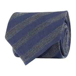 Royal Blue and Grey Silk Twill Regimental Tie