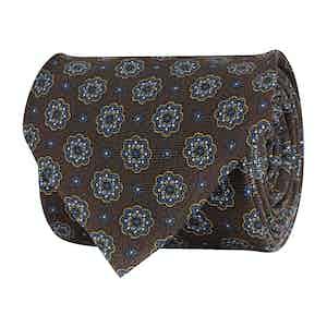 Brown Silk Twill Medallion Print Tie