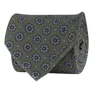 Moss Green Silk Twill Medallion Print Tie