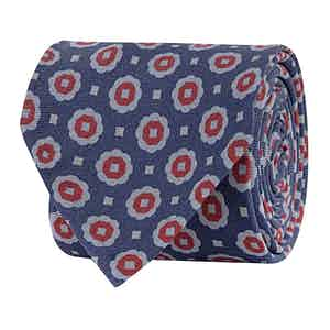 Azure Blue Silk Twill Print Tie