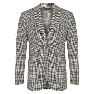 Black and White Cotton and Wool Dogstooth Single-Breasted Jacket