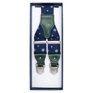 Blue Floral Jacquard Silk Braces