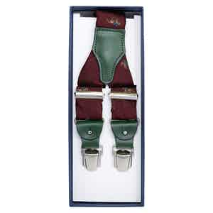 Burgundy Horses Jacquard Silk Braces