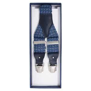 Blue & Grey Round Pattern Silk Braces