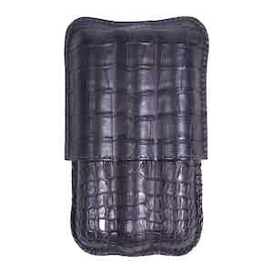 Dark Grey Alligator Three-Cigar Case