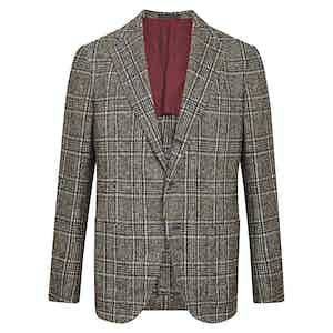 Brown and Blue Wool Check Jacket