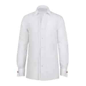White Cotton Pleated Tuxedo Shirt