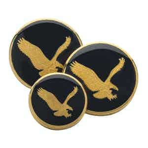 American Eagle In Blue Enamel Double Breasted Blazer Button Set