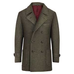 Olive Green Cashmere Casual Blazer