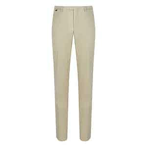 Cream Cotton Flat Front Trouser