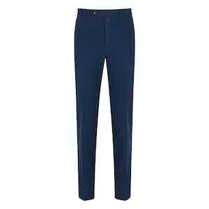 Blue Cotton Flat Front Trouser