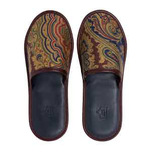 Burgundy Silk and Leather Paisley Slippers