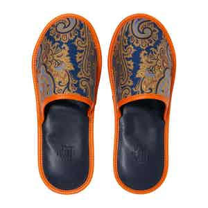 Royal Blue and Orange Silk and Leather Slippers