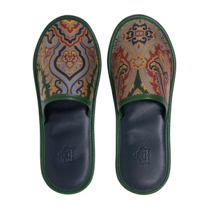 Green Silk and Leather Paisley Slippers