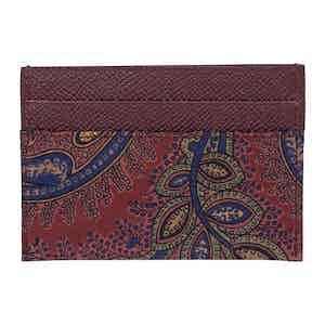 Burgundy Leather Paisley Card Holder