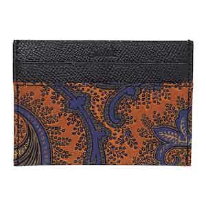 Orange Leather Paisley Card Holder