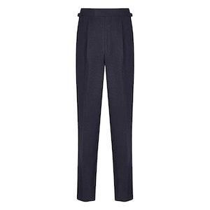 Dark Blue Duke Pleated Wool Trouser