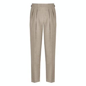 Mid-Brown Tropical Aleksandar Pleated Trouser