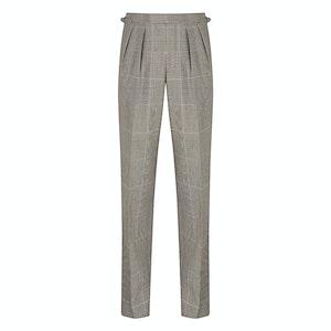 Grey Wool Oversize Blake Check Aleksandar Pleated Trousers