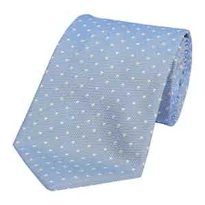 Light Blue Silk Spotted Honeycomb Tie