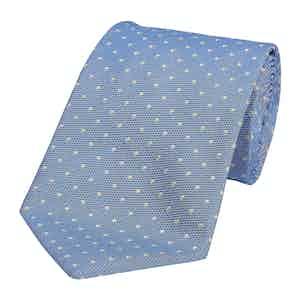 Medium Blue Silk Spotted Honeycomb Tie
