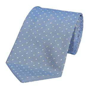 Medium Blue Silk Spotted Honeycomb Tie