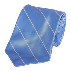 Blue Single Mogador Stripe Silk Tie