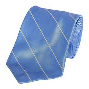 Blue Single Mogador Stripe Silk Tie