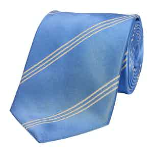 Blue Mogador Triple Stripe Silk Tie