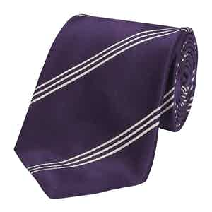 Purple Mogador Triple Stripe Silk Tie