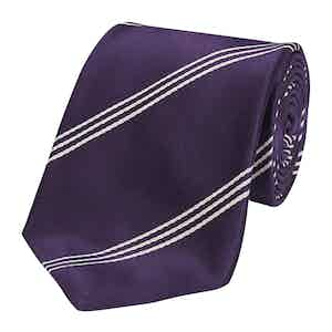 Purple Mogador Triple Stripe Silk Tie