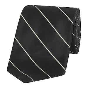 Black Mogador Stripe Silk Tie