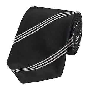 Black Mogador Triple Stripe Silk Tie