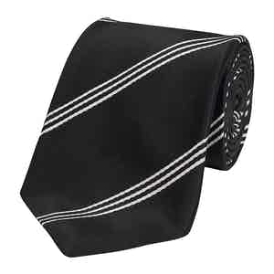 Black Mogador Triple Stripe Silk Tie