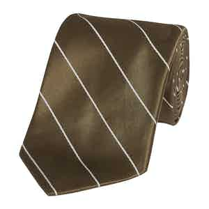 Chocolate Mogador Stripe Silk Tie