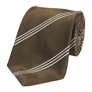 Chocolate Mogador Triple Stripe Silk Tie