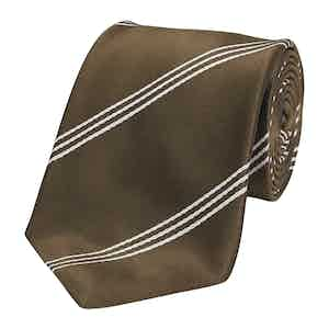 Chocolate Mogador Triple Stripe Silk Tie