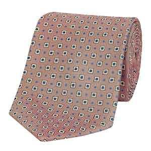 Lemonade Pink Medallion Print Silk Tie