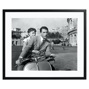 Roman Holiday with Gregory Peck and Audrey Hepburn, Black and White Print