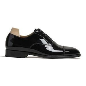 Äppelviken Black Patent Leather Cap Toe Oxford Shoe