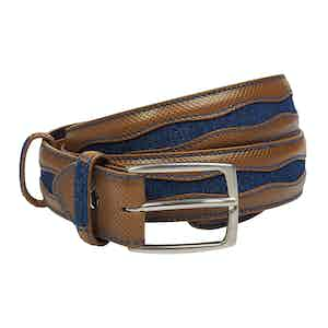 Denim & Chesnut Calf Leather Belt
