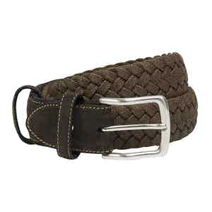 Dark Brown Marl Handweave Stretch Cotton Belt