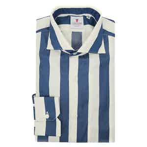 Cream and Blue Cotton Wide Striped Shirt