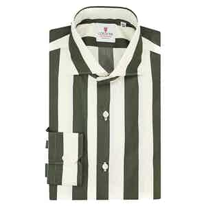 Cream and Green Cotton Wide Striped Shirt