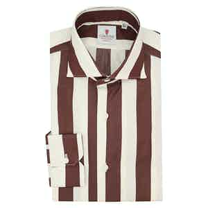 Cream and Bordeaux Cotton Wide Striped Shirt