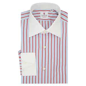 Azure and Red Cotton Cam Striped Shirt
